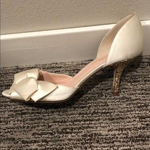 Ivory Kate Spade Heels with Gold Glitter Heel